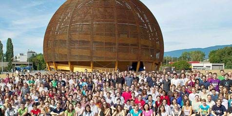 Students at the CERN exhibition globe